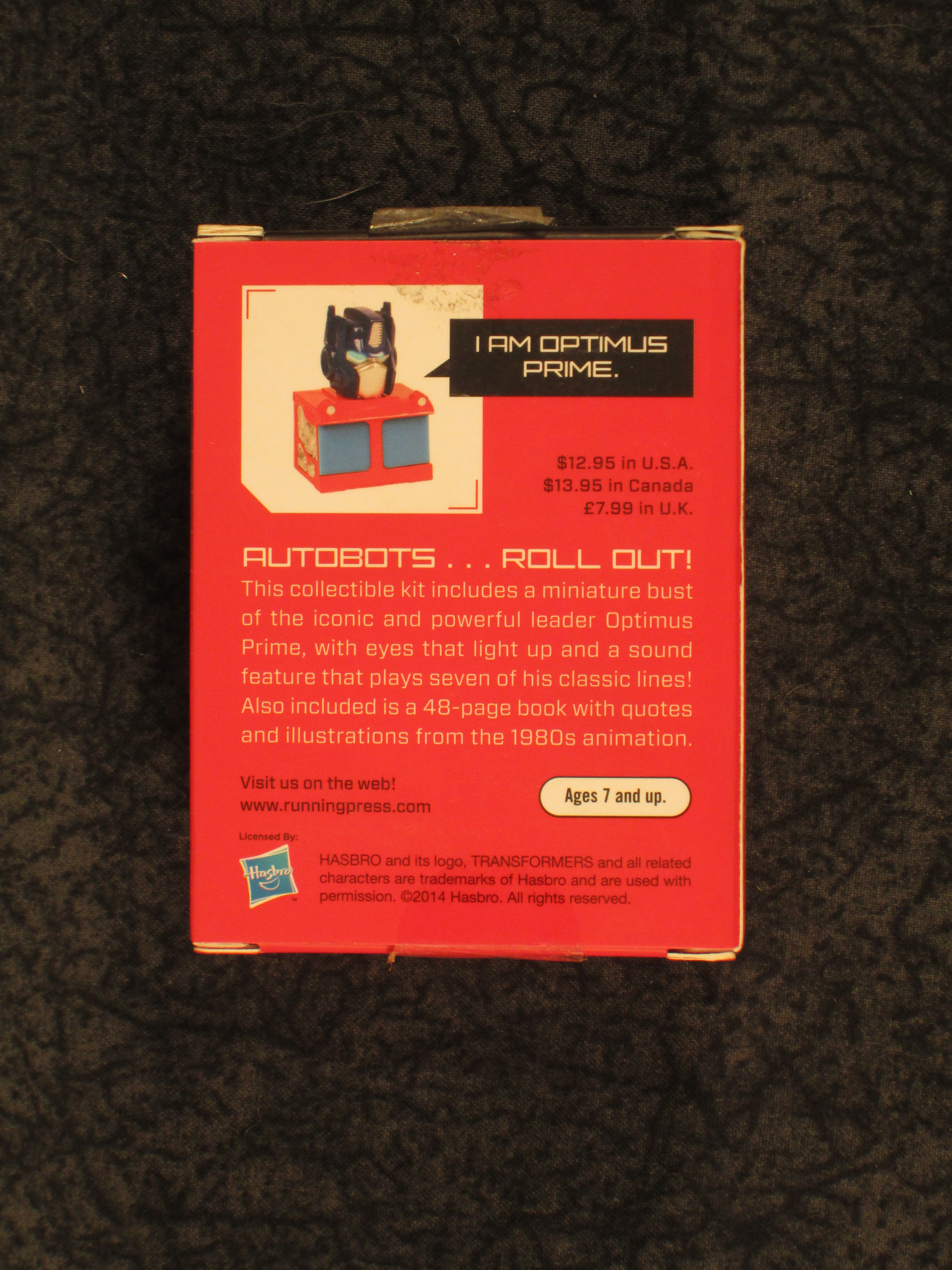 Transformers Light-Up Optimus Prime Mini Bust /& Book Set Running Press 2014