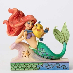 Disney Traditions Jim Shore Little Mermaid Ariel with Flounder Figure