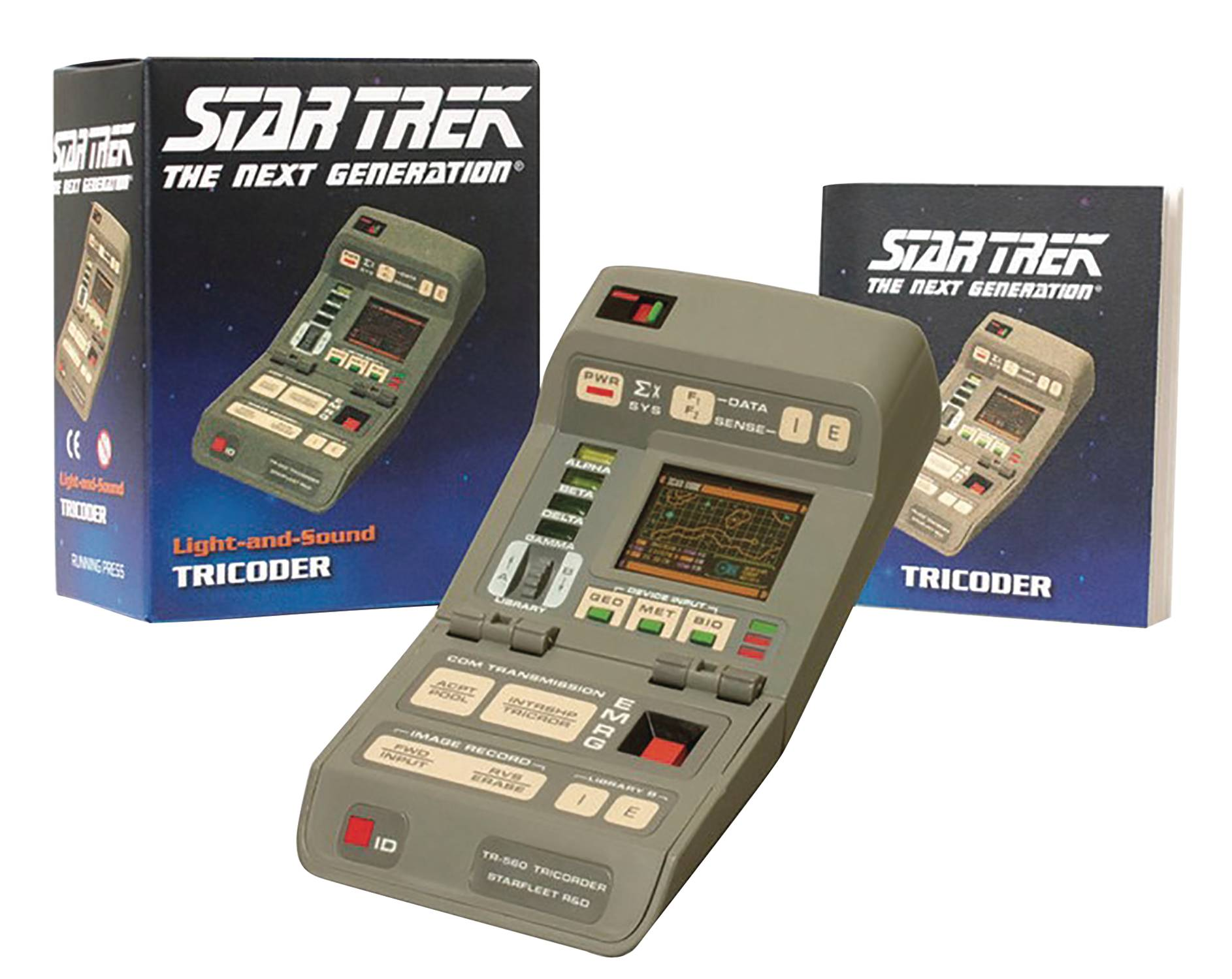 running press star trek tng light up tricorder with sound effects